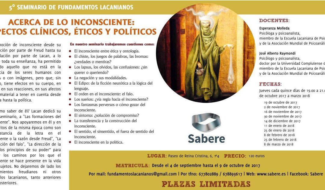 """""""Acerca de lo inconsciente"""": Nuevo seminario de formación en psicoanálisis lacaniano"""